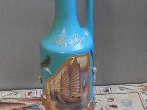 Декор бутылки в морском стиле. Ярмарка Мастеров - ручная работа, handmade.