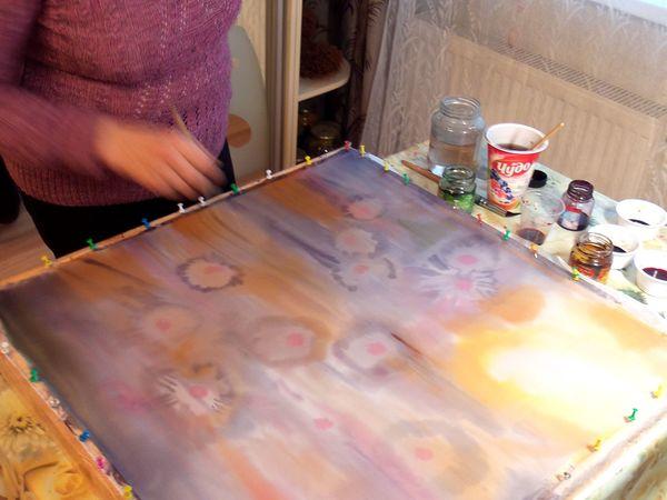 Роспись платка в акварельной технике (свободная роспись) | Ярмарка Мастеров - ручная работа, handmade