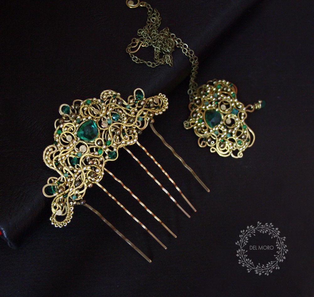 кулон-брошка украшение траснформер, украшения невесты в средневековом стиле спб