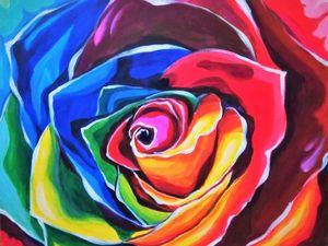 Рисуем яркую интерьерную картину акрилом из трех цветов. Ярмарка Мастеров - ручная работа, handmade.