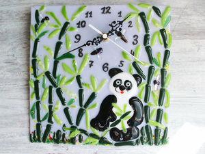 Делаем настенные часы «Панда в зарослях бамбука» в технике фьюзинг. Ярмарка Мастеров - ручная работа, handmade.