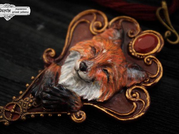Новинка!!! Лиса сказочница. Кулон из  полимерной глины   Ярмарка Мастеров - ручная работа, handmade