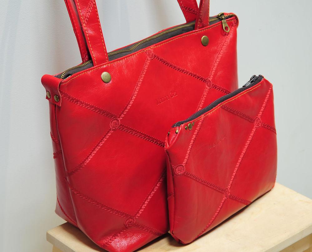 сумка женская, кожаная сумка, сумка с косметичкой, авторская сумка, распродажа, акция магазина