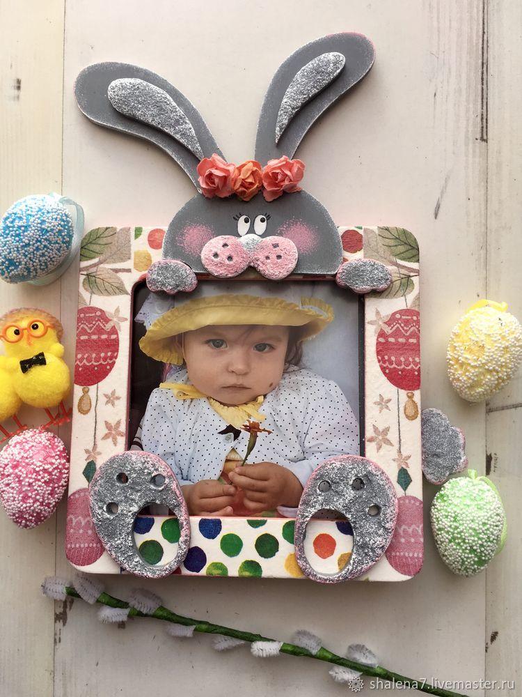 пасхальный декор, пасхальный кролик, декупаж, декор фоторамки своими руками