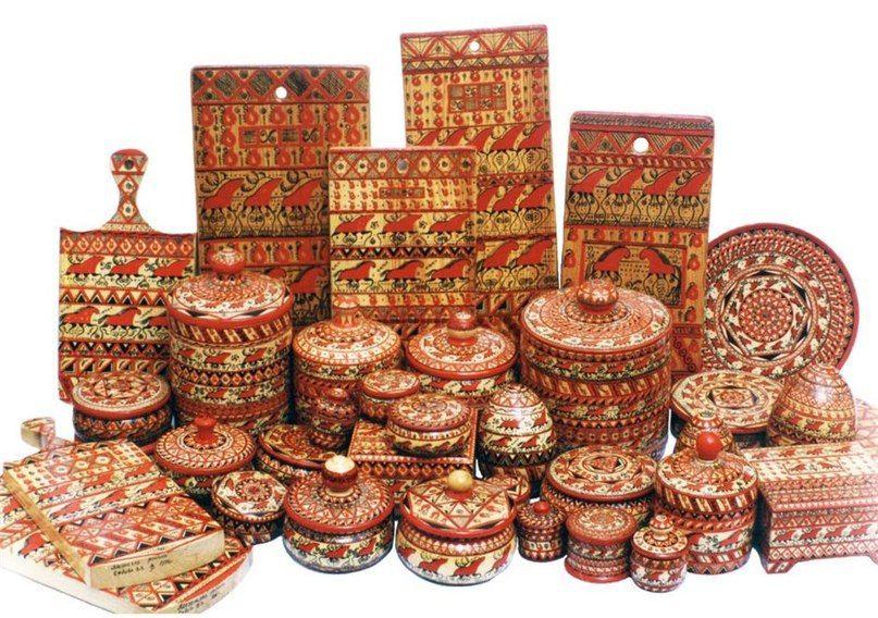 мезенская роспись, роспись мебели, расписная посуда