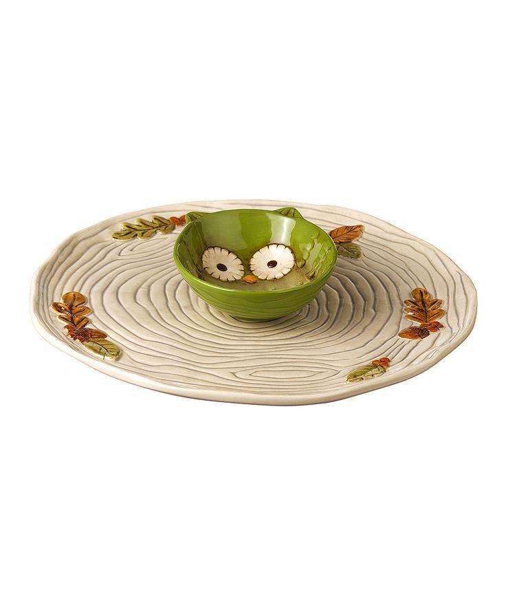 Green Owl Chip & Dip Set