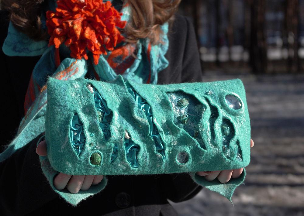 валяние из шерсти, tatiana sapelnikova, современный войлок, сумка с фермуаром