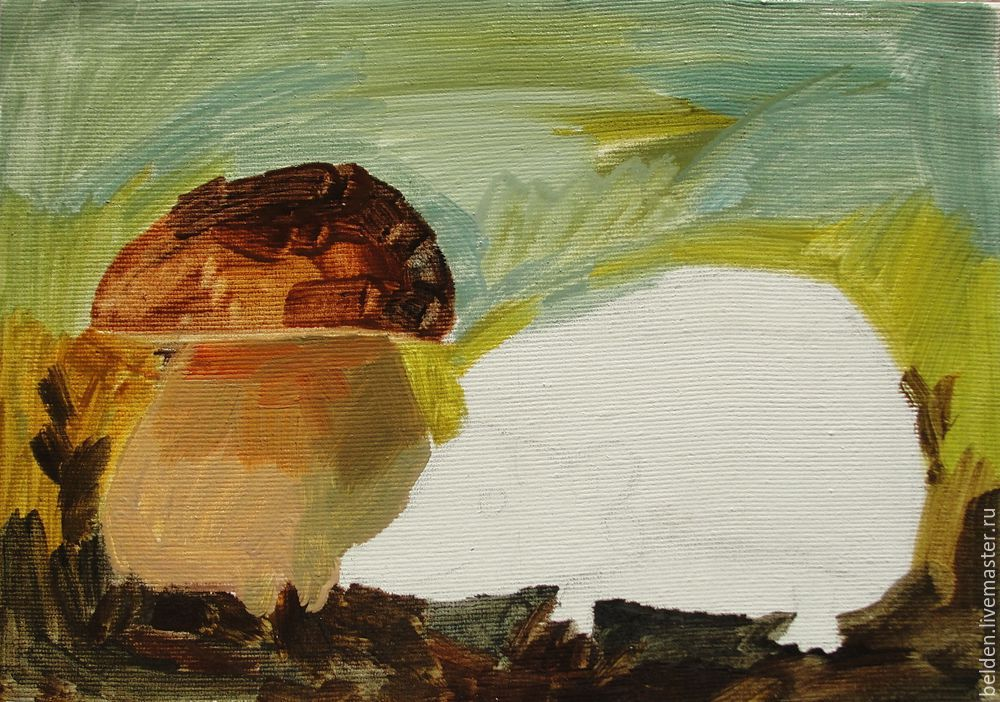 Рисуем забавного ёжика в тумане под грибом, фото № 8
