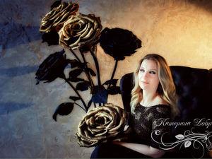 Черно-золотые розы на фотосессии. Ярмарка Мастеров - ручная работа, handmade.