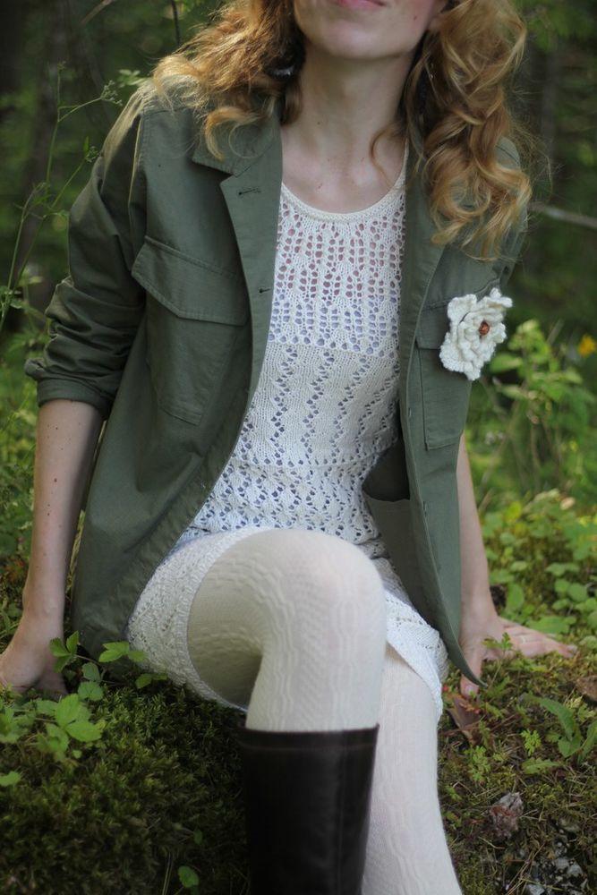 платье вязаное, молодежный стиль, белое платье