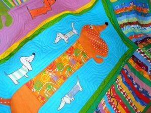 Пэчворк покрывало детское  - ТАКСЫ - милое и веселое лоскутное шитье.   Ярмарка Мастеров - ручная работа, handmade