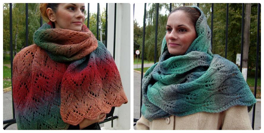 шерсть 100%, дундага, шарфы, вязание спицами