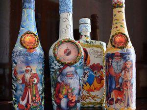 Светящиеся новогодние бутылки   Ярмарка Мастеров - ручная работа, handmade