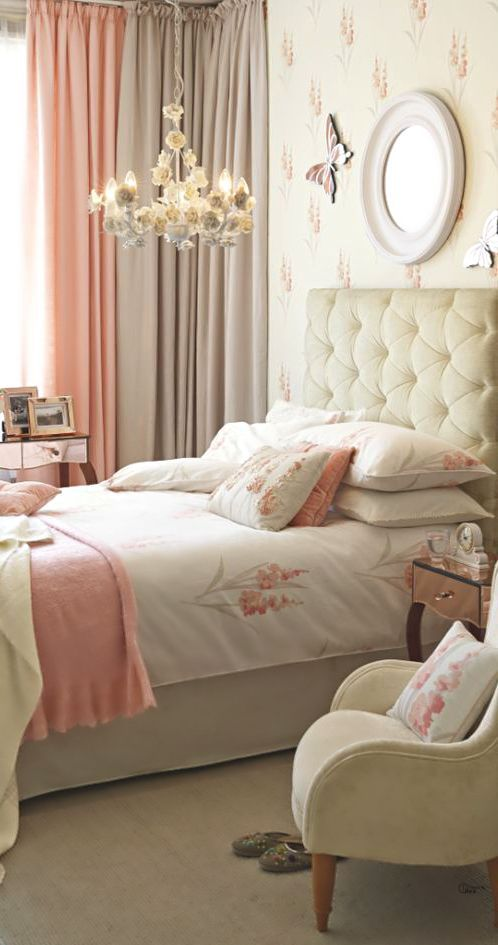 I would eliminate the butterfly, but that's just me, otherwise, simply charming, love the curtain ombre wash of colour.    Pretty Pastel Bedroom