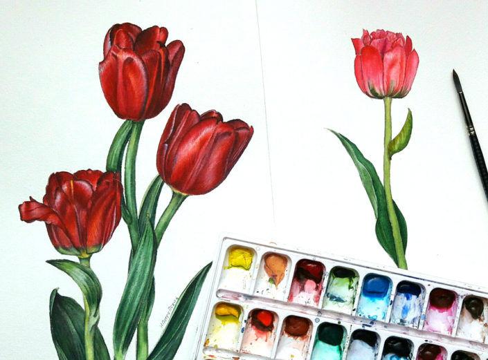 акварельная живопись, уроки рисования, зима, учусь рисовать, картина в подарок, обучение рисованию