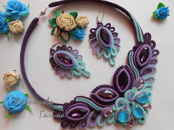 сутажные украшения, сутажный комплект, сутажные серьги, сутажное колье, крупные серьги, красивые украшения, красивые серьги, красивое колье, фиолетовый, бирюзовый цвет