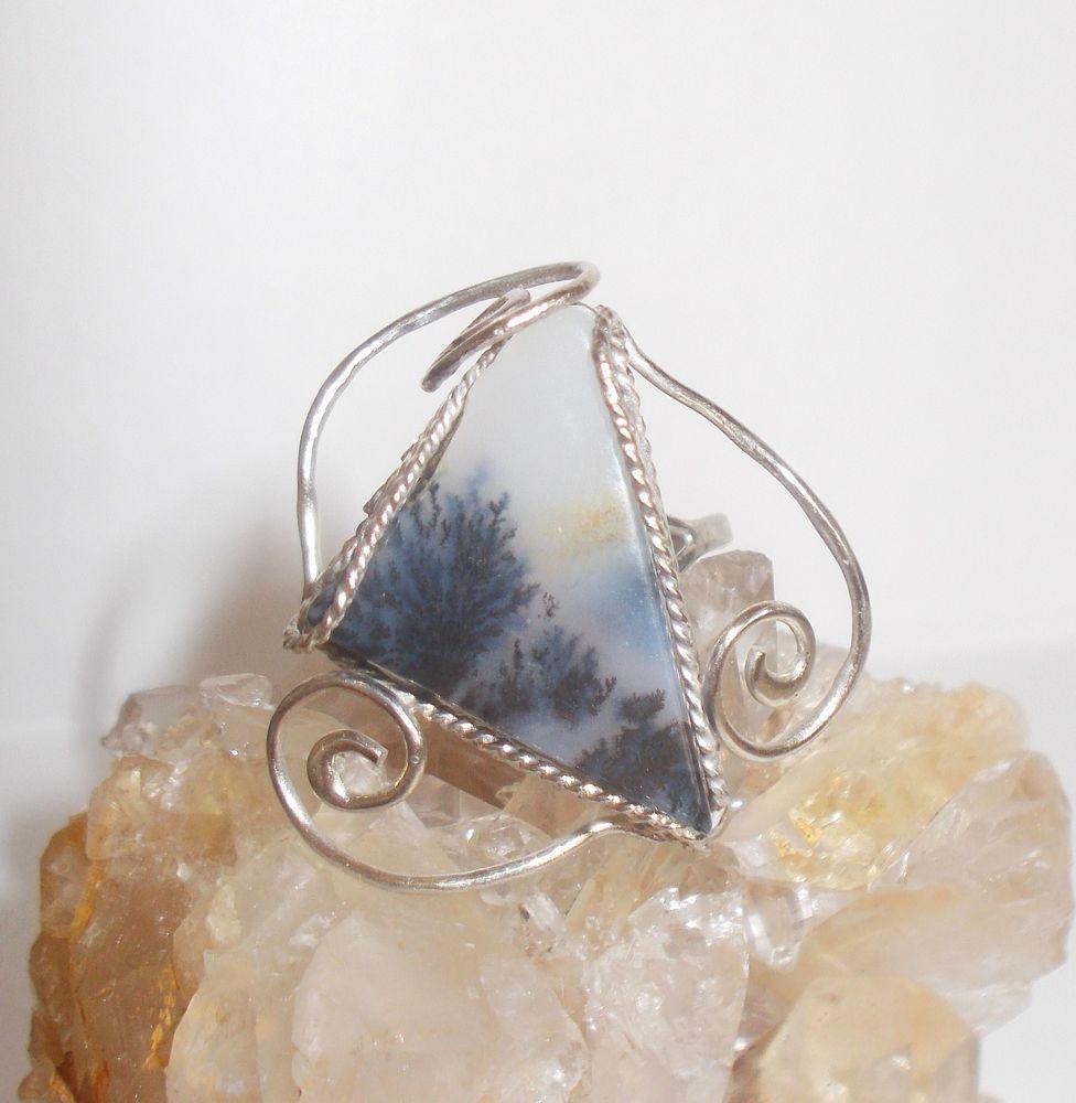 кольцо с моховым агатом, филигрань, колечко, дендритовый агат