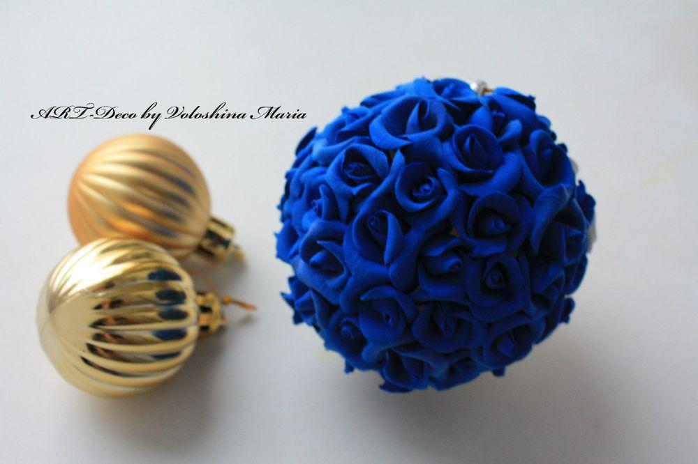 новый год, розы, полимерная глина