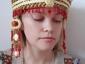 Русский кокошник из соломенных плетешков. Ярмарка Мастеров - ручная работа, handmade.