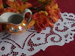 Нежная, ажурная салфетка с вышивкой ришилье 1950- е. Ярмарка Мастеров - ручная работа, handmade.