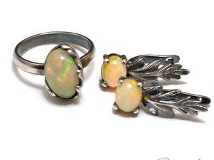 Серебряные серьги и кольцо с опалом. Ярмарка Мастеров - ручная работа, handmade.