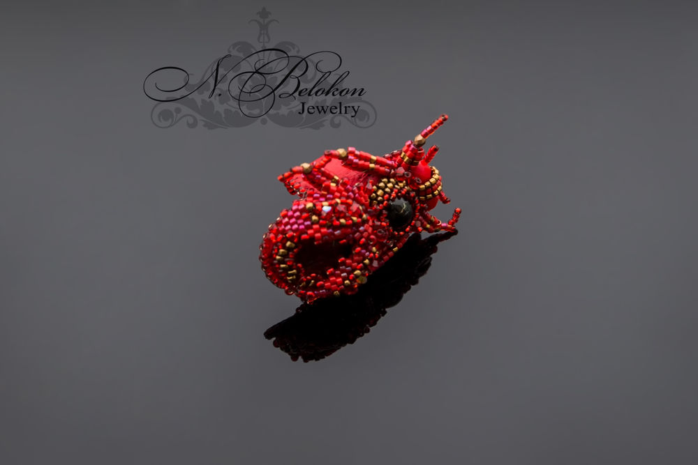 Огненный аммолитовый жучок колечко, фото № 2