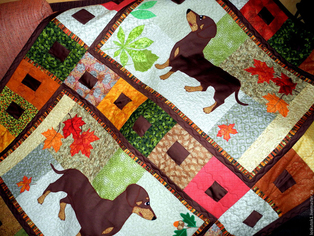 собака, одеяло пэчворк, лоскутный плед, покрывало лоскутное