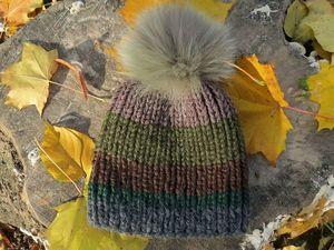 Завершен АУКЦИОН  на шапку вязаную с меховым помпоном. Ярмарка Мастеров - ручная работа, handmade.