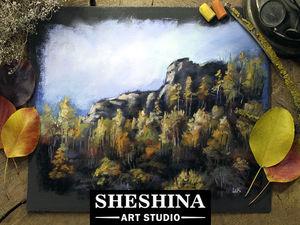 Рисуем осенние деревья на склоне горы сухой пастелью. Ярмарка Мастеров - ручная работа, handmade.