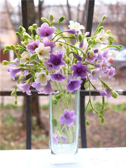 букет полевых цветов, холодный фарфор