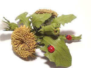 Создаем из кожи солнечный цветок одуванчик. Ярмарка Мастеров - ручная работа, handmade.