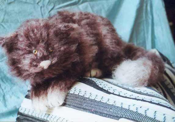 striped stuffed cat