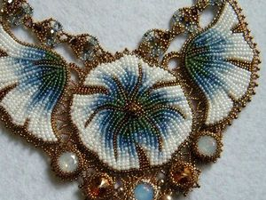 """Blue Flowers"" Beadwork Necklace. Livemaster - handmade"
