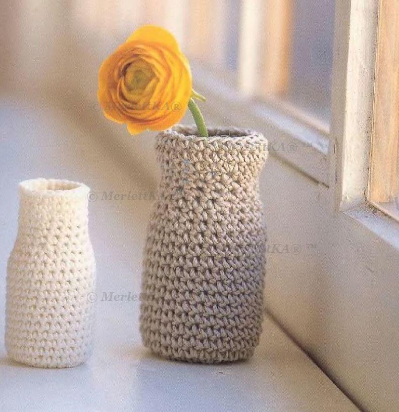 ваза крючком, игольница