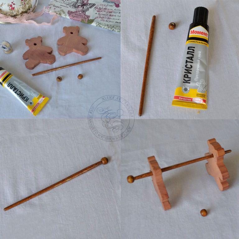 мастер-класс, шпульки для ниток, деревянные заготовки, деревянные бусины, юлия солнце, кукла, медведь