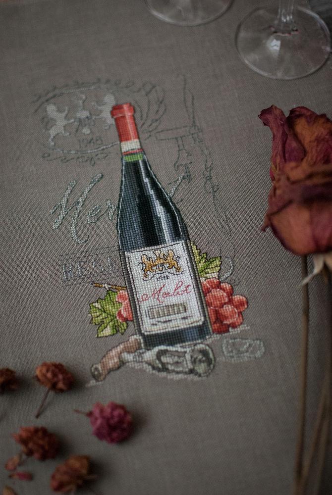 вино, вышивка крестиком