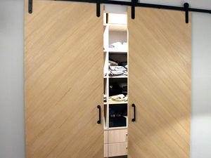 Двойная амбарная дверь со скошенными досками | Ярмарка Мастеров - ручная работа, handmade