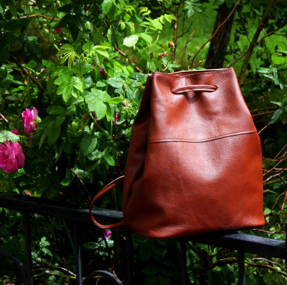 кожаный рюкзак, рюкзак на лето, городской рюкзак, коричневый рюкзак, подарок девушке, красивый кожаный рюкзак