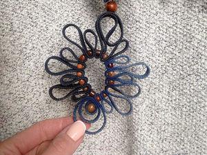 Кулон из джинсовой ткани Бабочка.. Ярмарка Мастеров - ручная работа, handmade.