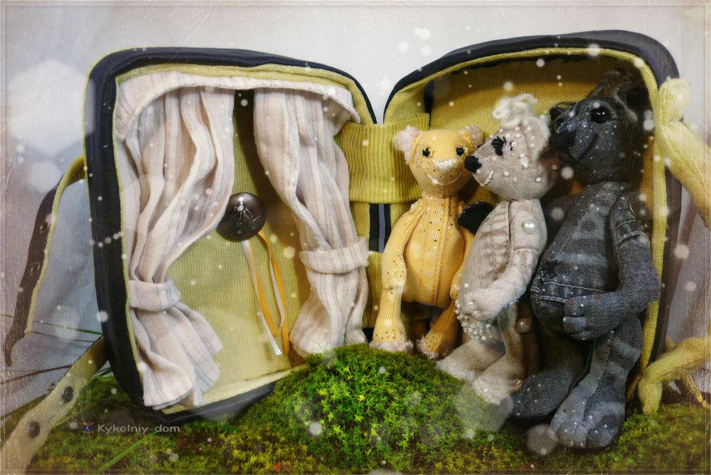 Игрушки мишки из джинса.семья мишек Дин, Катрина и Йорик