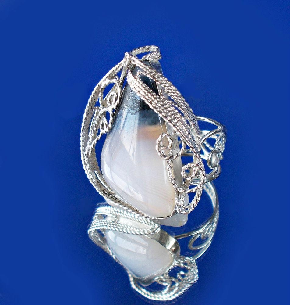филигрань кольцо, агат в серебре, украшение на руку, ажурный металл