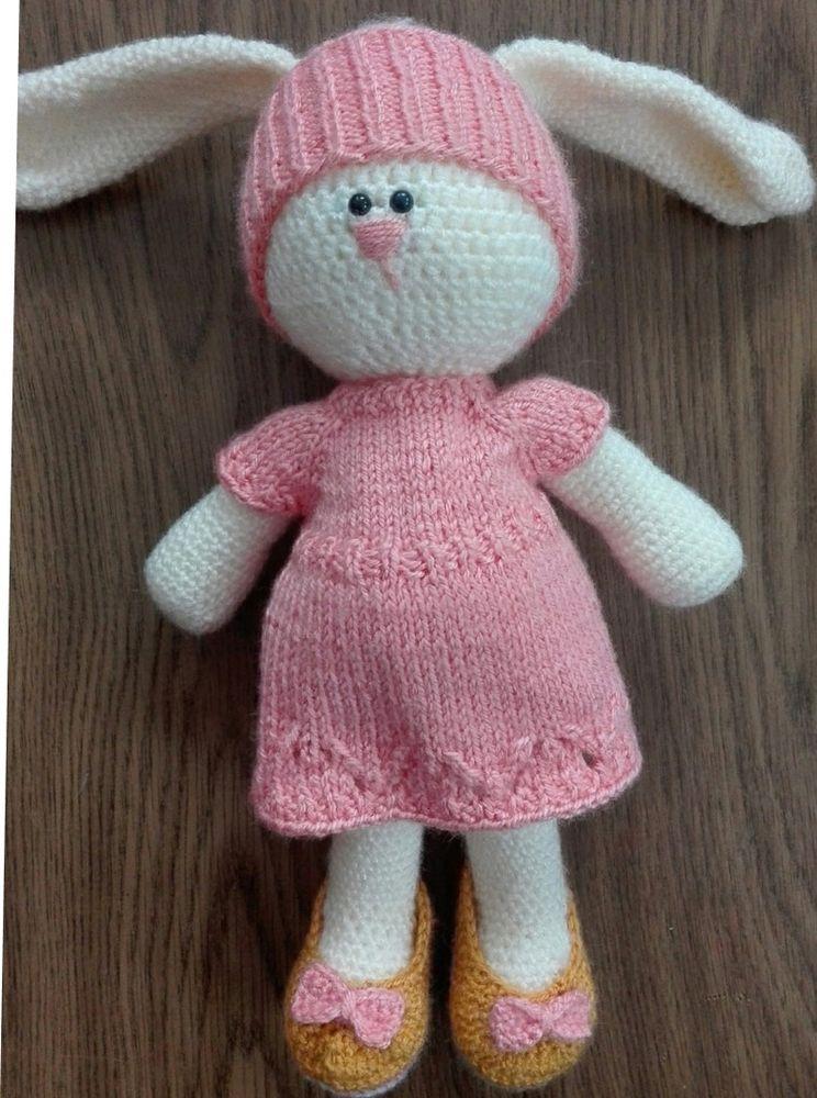 вязаный заяц, вязаная одежда для игрушек, вязание ростов
