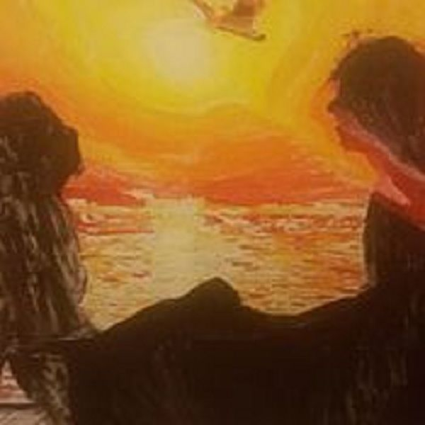 картины на холсте по номерам, влюбленные, закат
