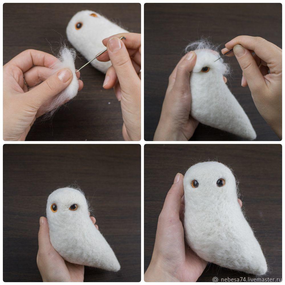 """Fieltrar un juguete de árbol de Navidad """"Búho polar blanco"""", foto # 5"""