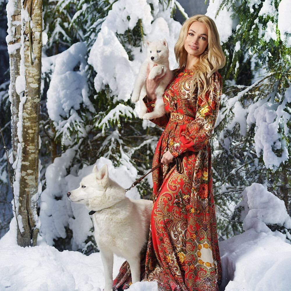 платье в русском стиле, павлопосадский платок, зимняя сказка