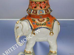 РЕДКОСТЬ Слон чайница банка ваза фарфор золото 12 | Ярмарка Мастеров - ручная работа, handmade