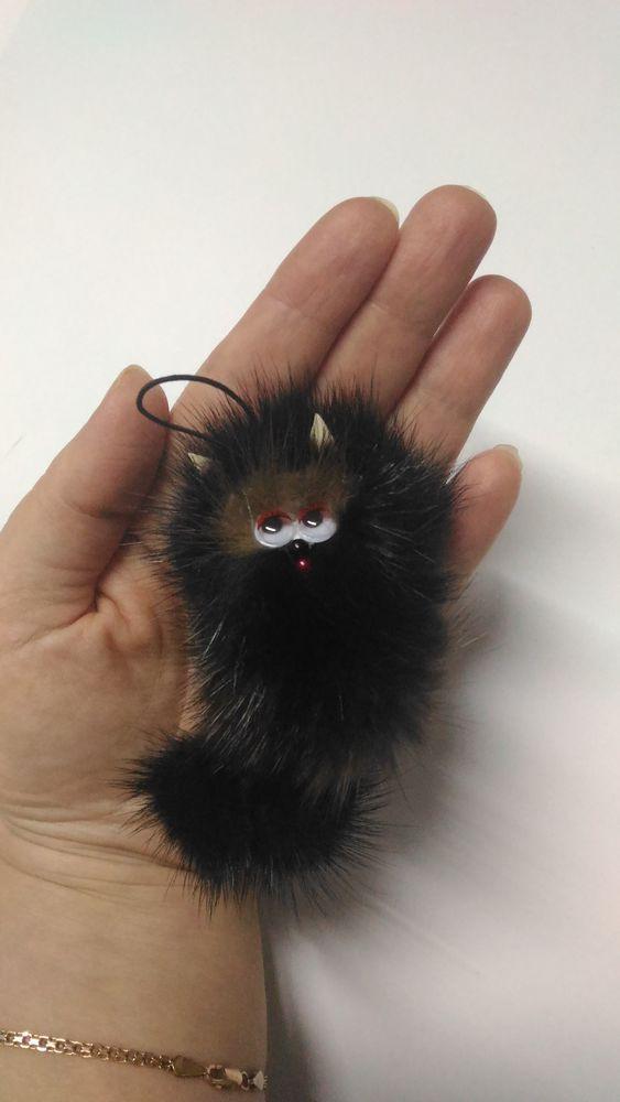кот, котёнок, мех натуральный, из меха норки, подвеска на ключи, подвеска на телефон, кошка