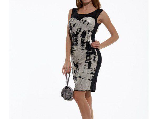 Модель-0798 Коктейльное Платье-футляр из Двухцветных Пайеток | Ярмарка Мастеров - ручная работа, handmade