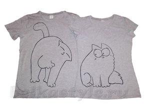 Парные футболки с ручной росписью за 1990 руб. до 26.08.17. Ярмарка Мастеров - ручная работа, handmade.
