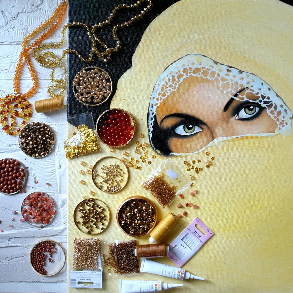 клон, восточная девушка, глаза, картина, купить картину, золотая картина, вышивка камнями, картина из страз, драгоценые камни, инкрустация камнями